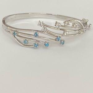 💎Blue topaz 925 silver modern bangle bracelet